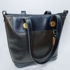 Dooney & Bourke Leather Gold Accented Tote Bag